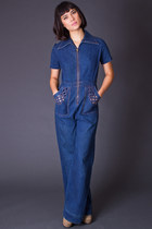 Vintage Zipper Front Denim Jumpsuit