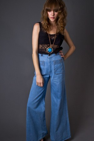 sky blue high waisted telltale hearts vintage jeans
