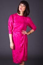 Vintage Floral Print Silk Dress in Neon Pink