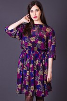 Vintage Sheer Floral Print Dress
