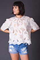 Vintage Lace Crop Top in White