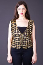 Vintage Sparkling Silk Vest in Black & Gold