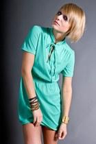 Aquamarine Mint Mini Telltale Hearts Vintage Dresses