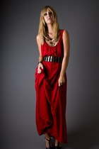 ruby red crepe maxi telltale hearts vintage dress