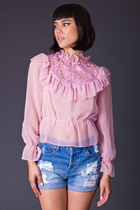 Vintage Sheer Peplum Blouse in Bubblegum