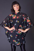 Vintage Sheer Floral Cape in Black