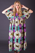 Vintage Abstract Fan Print Maxi Dress