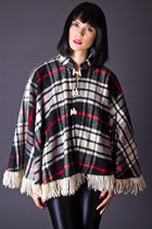 Vintage Plaid Poncho in Black, White & Red