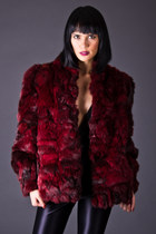 Vintage Rabbit Fur Jacket in Black Cherry