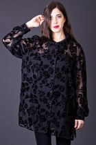 Vintage Sheer Floral Burnout Blouse in Black