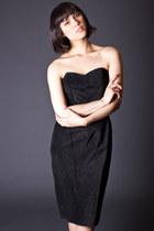 Vintage Strapless Suede Little Black Dress