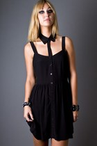 black cut out collar Something Else dress