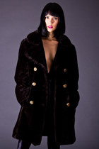 Vintage Faux Fur Pea Coat in Black