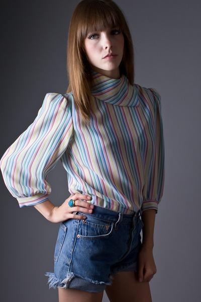 rainbow stripe telltale hearts vintage blouse