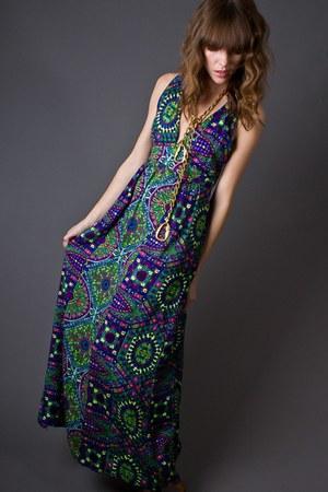 teal open back maxi telltale hearts vintage dress