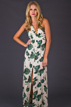 Vintage Green Rose Halter Maxi