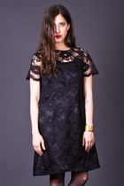 Vintage Black Lace Shift Dress