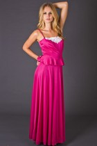 Vintage Peplum Maxi Dress in Hot Pink