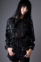 black black sequin telltale hearts vintage blouse