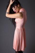Peach High Neck Mini Telltale Hearts Vintage Dresses