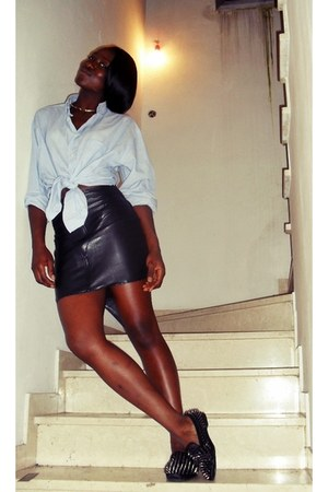 handmade skirt - vintage shirt - romwe loafers - H&M necklace