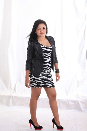 leather jacket - H&M dress