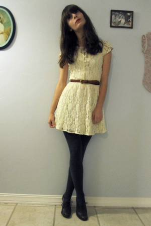 white vintage dress - brown vintage shoes - gray Marshalls stockings