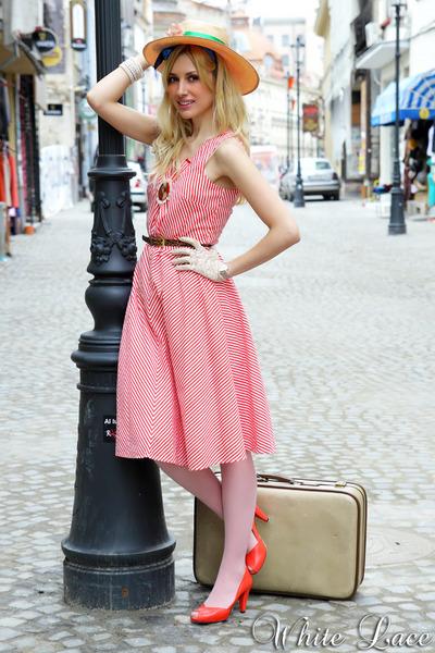 Pixie shoes - red vintage at Aiurea Shop dress - gold vintage at Aiurea Shop hat