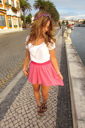 white H&M top - pink Bershka skirt