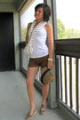 Light-brown-hat-light-brown-scarf-brown-shorts-white-top-camel-wedges