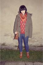 brown Deichmann boots - blue Denim Co jeans - dark khaki parka New Yorker jacket