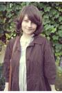 Brown-satchel-h-m-bag-beige-atmosphere-dress-dark-brown-orsay-coat