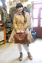 olive green Ophelia without Eye skirt - camel Gate jacket