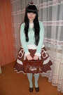 Dark-brown-bodyline-shoes-aquamarine-h-m-tights-white-anna-house-blouse