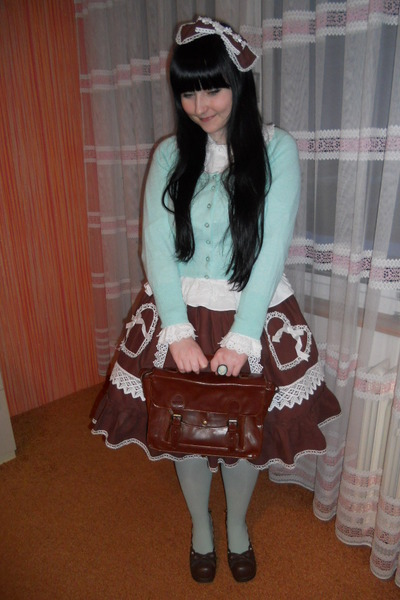 dark brown Bodyline shoes - aquamarine H&M tights - white Anna House blouse