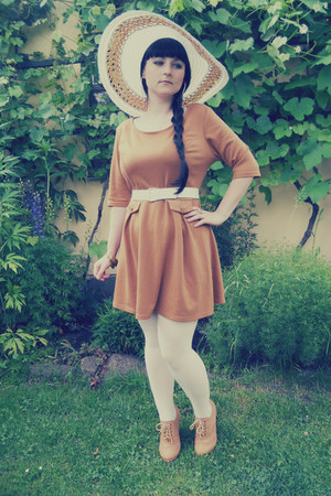 white c&a hat - bronze Atmosphere dress - white Orsay tights