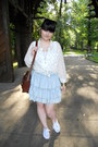 White-new-yorker-shirt-brown-gate-bag-sky-blue-thrifted-skirt