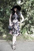 black lindex hat - navy lindex dress - navy vintage bag - black CCC sandals