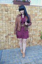 ruby red Gate dress - brown Pimkie jacket - gold I am earrings