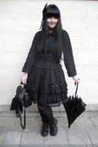 black Gate tights - black vintage bag - black Bodyline blouse - black H&M ring