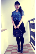 black Gate tights - black New Yorker bag - black Gate skirt - blue Gate blouse