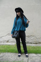 black thrifted jeans - black H&M hat - black New Yorker bag