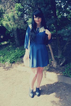 navy Vero Moda dress - white oodji bag - navy offbrand heels
