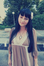 Silver-c-a-ring-light-brown-thrifted-dress-off-white-handmade-necklace