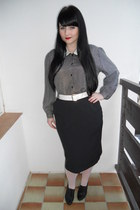 white vintage belt - white offbrand tights - black vintage skirt