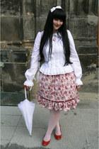 white Anna House shirt - ruby red Bata pumps - ruby red Porcelain Doll skirt
