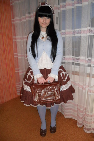white lolita Anna House blouse - sky blue H&M tights
