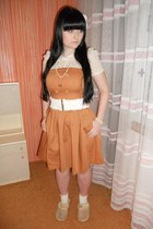 white Gate socks - bronze Orsay dress - white H&M accessories - white Gate belt