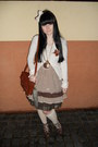 Dark-brown-orsay-dress-brown-gate-bag-cream-tally-weijl-socks