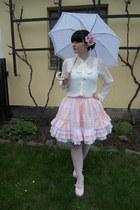 white New Yorker blouse - white offbrand tights - white Takko fashion top